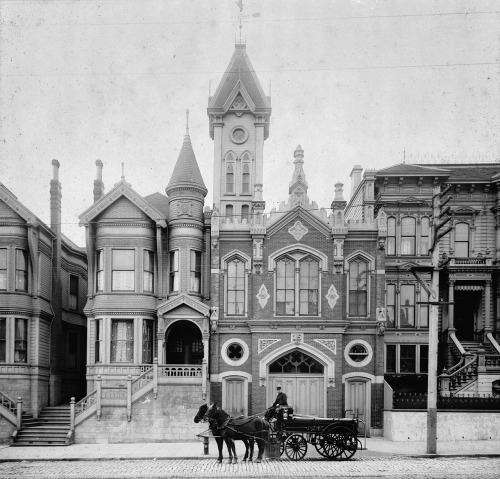 Engine 15 Firehouse. 2150 California Street, San Francisco. April 10th, 1894. Photograph by W. Cathcart. Make sure to view it bigger to see all the lovely details, and then weep when you see what the firehouse there now looks like.