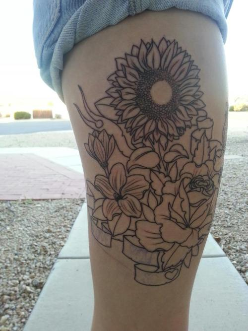 fuckyeahtattoos:  I got the outline done yesterday, so excited to get it colored. Done by Harley Goodson at No Regrets in Tempe, AZ.    love this