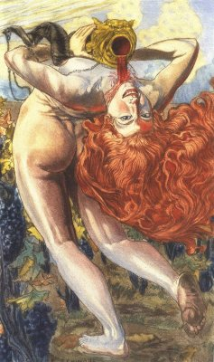 "art-and-fury:  L'Ame du Vin - Carlos Schwabe illustration in Les Fleurs du Mal by Charles Baudelaire                                                                                                     ""One evening, the soul of wine sang in the bottles:  ""Man, I'm pushing you to, oh dear disinherited,  Under my glass prison and my crimson wax,  A song full of light and brotherhood   I know how much it takes, on the hill in flame,    From pain, of sweat and burning sun   To create my life and give me soul     But I will not be ungrateful nor evil,    Because I feel great joy when I fall    In the throat of a man worn out by his labors,   And his chest is a sweet hot tomb   Where I like much better than my cold cellars"".                                           The Soul of Wine"
