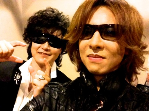 #Xjapan press conference! Backstage pic with ToshI -Yoshiki Well, my day just got better AND worse because of this. Excuse me while I sob and fling myself off the nearest cliff. -hXd