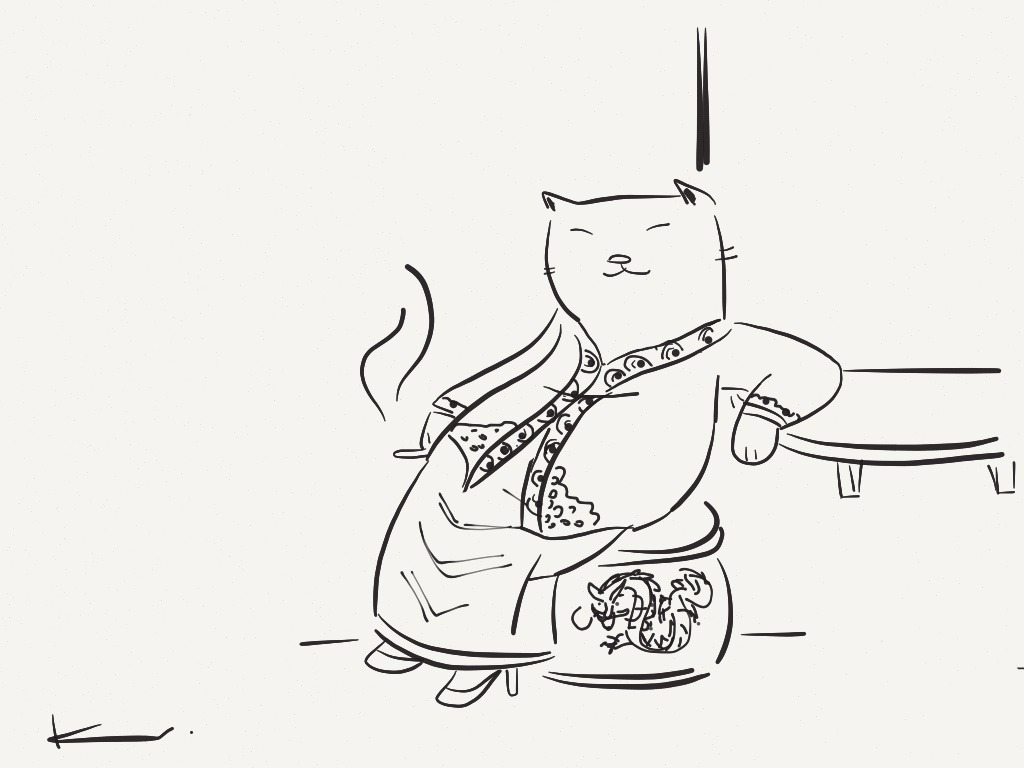 Made With Paper  Practice sketch of a Nyonya cat on a ciggy break. My late grandmother was always seen in a Kebaya, and I've always thought these ladies exuded such invincible and self-assured femininity in them. My sketchbook now has many Nyonya cats, hoping to complete a colored one soon. Due to the intricacy of their motifs it's quite a challenge on stylus :p