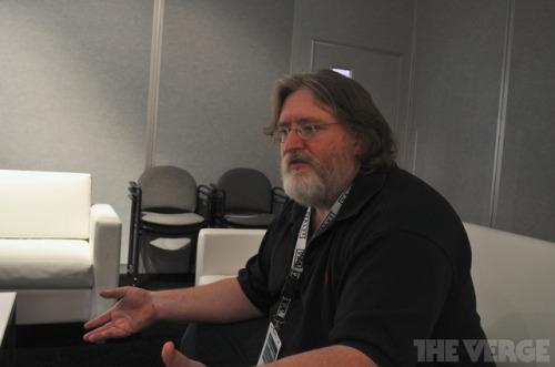 "thisistheverge:  Exclusive: Valve's Gabe Newell on Steam Box, biometric controllers, and the future of gaming We just sat down for a rare and wide-ranging interview with Valve CEO Gabe Newell, who opened up to The Verge with details about the company's upcoming ""Steam Box"" gaming hardware, the future of the Steam digital distribution platform, and even gaming itself. For starters, Valve isn't just attacking the living room; the Steam Box will be designed to work across multiple screens in the home using networking standards like Miracast, ideally allowing users to effortlessly transition between rooms and monitors to enjoy gaming and other content. But Valve's goal isn't just to put a box into everyone's living room, it's to help build an ecosystem of content developers — including the gamers themselves.  I'm excited for this."
