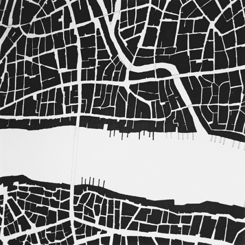 marcuslondon:  Map progress #map #maps #drawing #black #white #london #thames