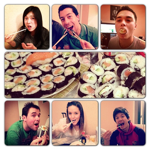 I'm having a quite good time in France! tonight I ate home-made sushi with my friends at their place. It was really delicious and we had great time! what I was surprised is there are a lot of people who love sushi and eat once a week, I already met at least 10 people like that! actually I eat sushi more in France than I was in Tokyo…haha