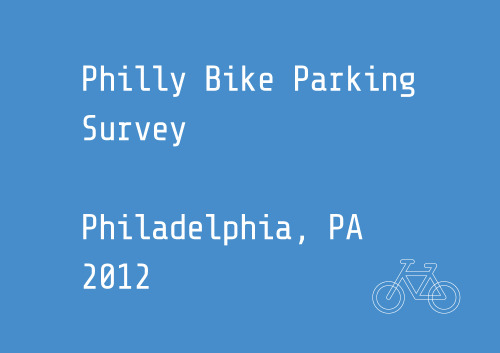 Philadelphia Bike Parking SurveyBicycle Coalition of Greater PhiladelphiaThis survey asks Philadelphians to document the availability of bike parking spots near commuter rail stations. The Bicycle Coalition of Greater Philadelphia will use this info to determine how many bicycles can be parked at Philly's local train stations so the Bicycle Coalition can have better information to advocate for more! http://bikeparking.shareabouts.org/page/about