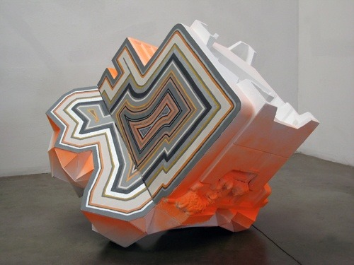 "Aili Schmeltz, ""Santa Anna Fire Agate,"" 2008, styrofoam, foam core, spray foam, latex paint, enamel paint & wood"
