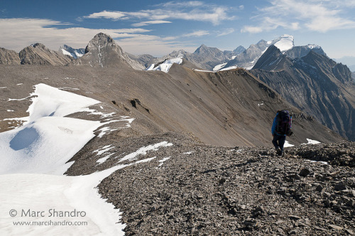 Backpacking Northover Ridge on Flickr.Via Flickr: Two more kilometers of glorious ridge travel before we descend near Mt. Northover on the left. To the right is the snowy fang of Mt. Joffre. We are moving from Three Isle Lake to Aster Lake which is about 11 kilometers and 700 meters of elevation gain.