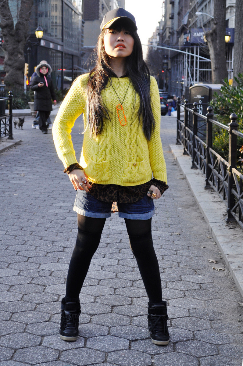 Nicole - Union Square, NYC  Forever21 sweater and cap | Topshop sneakers