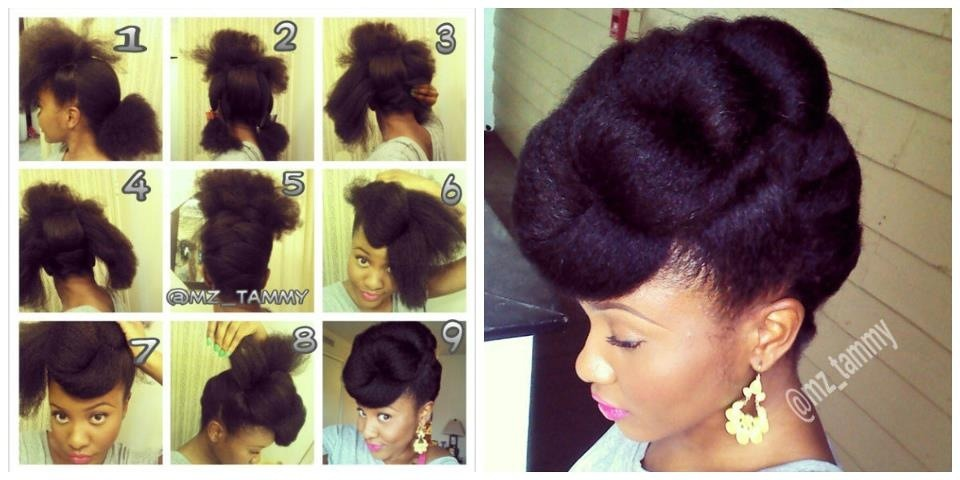 fckyeahbeautifulblackgirls:  1. Part hair from ear to ear across the top, pin both sides up(should have a mohawk appearance). 2. Part back in 3 sections, pull the middle section up and secure with pins (or combs). 3. Starting from the nape, grab a section of hair and pull to the opposite side and secure. (If your hair is long enough, bobby pins won't be needed. 4. Grab section the section at the nape on the top of the opposite and cross over previous section. 5 Continue criss crossing until you reach the top 6. Grab a section (on right or left) of hair in the front roll forward, tuck inwards and under, and secure with pin (loosely). 7. Take the front section on the opposite side, roll forward, and tuck into the opening of the previous roll. All others rolls should be towards the front expect… 8. The last rolls will be going backwards to cover the left over hair in the back. 9. Slightly lift rolls to add volume and that's a wrap!