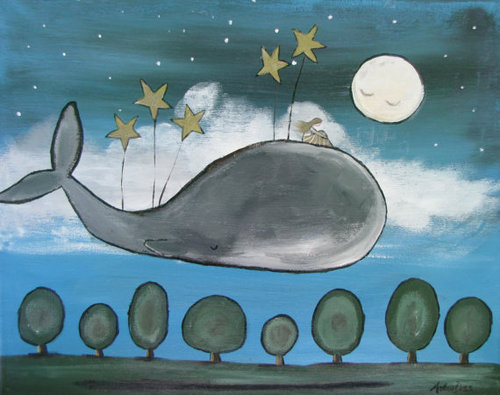 voglio-bene:  Original Wall Art Children Decor Whimsial Star Whale by andralynn on @weheartit.com - http://whrt.it/12c7jUp