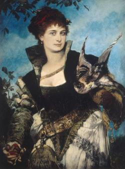 zombienormal:  The Falconer, Hans Makart (1840-1884), 1880. (Neue Pinakothek, Munich) Via.