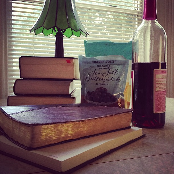 New Sunday Tradition: Studying for home group with Jesus, chocolate, & wine. (at The Olive You House)