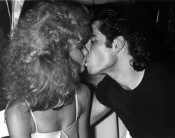 Olivia Newton John and John Travolta at the Grease party at Paramount Studios circa 1978