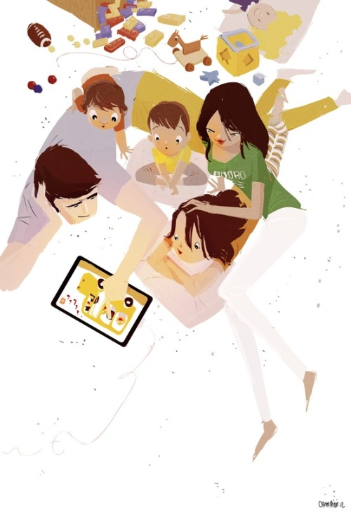Family Reading and digital / Lectura familiar y digital (ilustración de Pascal Campion)