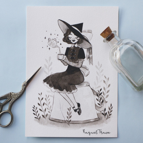 31witches 31witchesprompt lolitawitch tea blackandwhite ink watercolor teacup painting traditionalart sketch sketchbook witchsona
