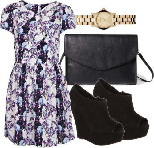 Wedding in June Topshop pattern dress / Office black wedge pumps, $23 / Forever 21  / Marc by Marc Jacobs