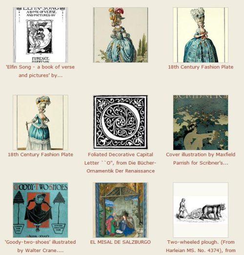 A new page of aggregated content from various vintage illustration websites is available from oldbookillustrations.com. Feel free to take a look.