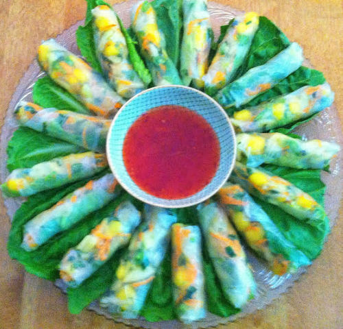 Veggie Spring Rolls (mango, cuke, carrot, snap pea, cabbage, mint, basil) with a Sweet Chili Dipping Sauce