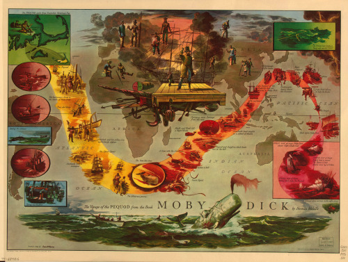 """The Voyage of the Pequod"", literary map produced in 1956 by illustrator Everett Henry for the Harris-Seybold company. Currently in the Library of Congress."