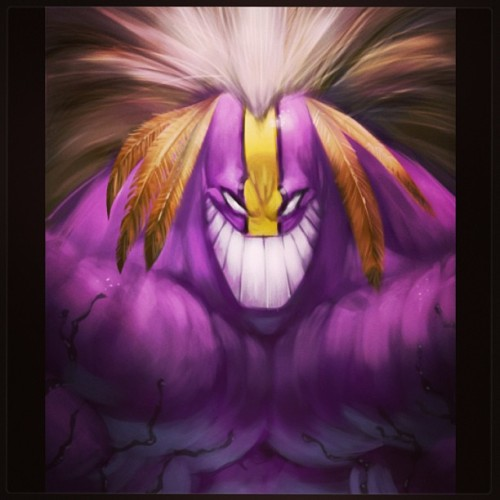 The Maxx painted on our livestream - www.livestream.com/jogeetv #samkeith #theMaxx #comics #photoshop #bunny #spiritanimal #purple #feathers #teeth