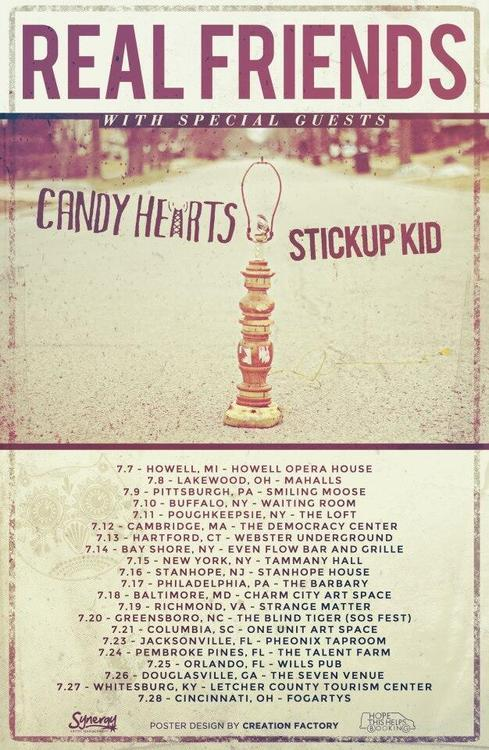 Real Friends announce summer tour with Candy Hearts and Stickup Kid.