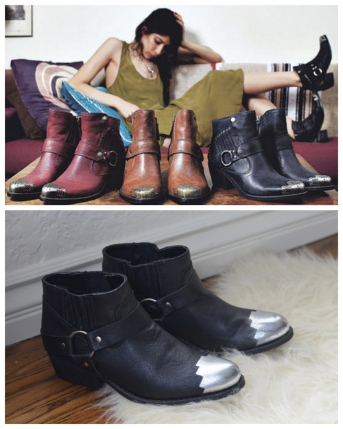 DIY Pamela Love Inspired Steel Toe Boots Tutorial from Swellmayde here. Really easy and clear tutorial for altering Forever 21 boots. Top Photo: Pamela Love Steel Toe Boots here, Bottom Photo: DIY by Swellmayde.