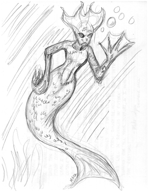 A mermaid that I drew at the Book Paper Scissors festival this past weekend, when I had some down time.  A bit of Abe Sapien from Hellboy found its way into this design, I must say…