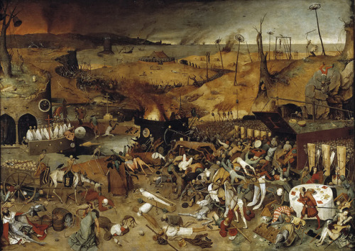 gandalf1202:  Pieter Bruegel the Elder - The Triumph of Death [c.1562] on Flickr. This painting is a morality play showing the triumph of Death over worldly things, symbolized by a large army of skeletons destroying Earth. In the background is a barren landscape where even more scenes of destruction are developed. In the foreground, Death leading his armies on a red horse, destroys the world of the living, who are led to a huge coffin, without hope of salvation. All social classes are included in the composition. Some try to fight their doom, others are abandoned to their fate. Only a pair of lovers in the bottom right, remains outside the future they also have to suffer.  [Museo Nacional del Prado, Madrid - Oil on panel, 117 x 162 cm]gandalfsgallery.blogspot.co.uk/2012/12/pieter-bruegel-eld…