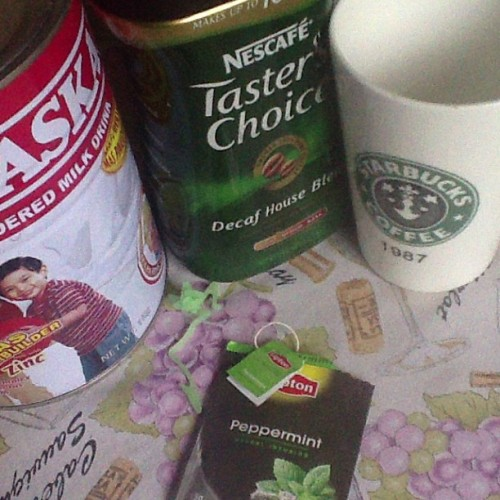 Coffee with lots of milk plus Peppermint :))) sarap ng amoy at ang lamig sa lalamunan :))) 😌☕ #raining #peppermint #coffee