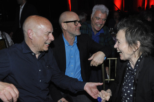 moredarkthanshark:  Brian Eno, Michael Stipe, David Byrne and Laurie Anderson at The Kitchen's gala benefit for Eno in New York on May 7, 2013   this photo makes me happy