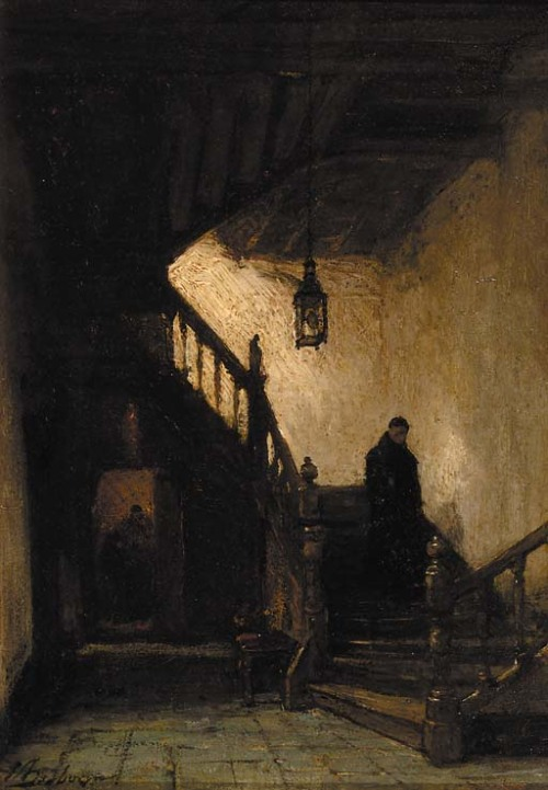 bnreimels:  poboh:  a monk descending a staircase, Johannes Bosboom. Dutch (1817 - 1891)  TumbleOn)