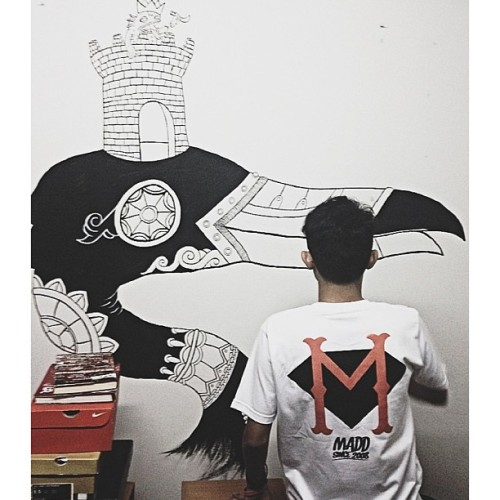 Artwork by @fritilldea  MADD SINCE 2008 tee in white @maddthelin #officialmerchandise #5thyearsanniversarymerch #gbkmalaysia #gbkeverywhere