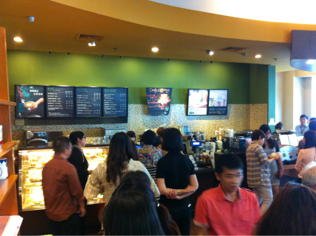 Line out the door! People go crazy for Starbucks here and at a 20% markup!