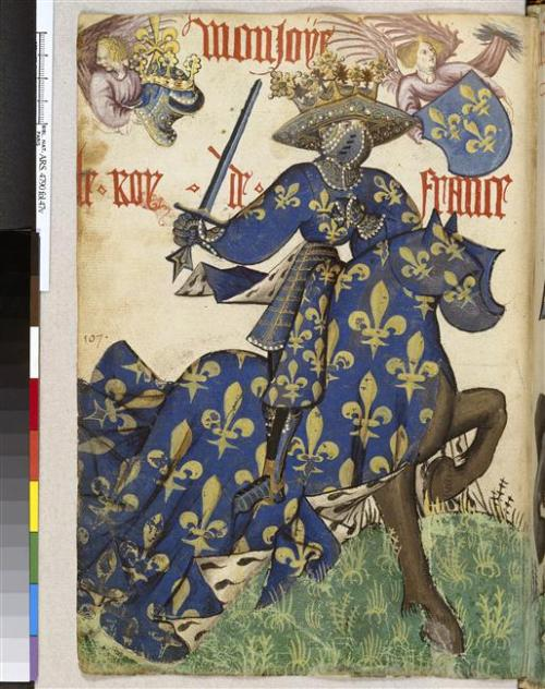 "Le roi de France  Recueil : ""Grand Armorial équestre de la Toison d'or"". Vers 1431-1435. Auteur : Jean Lefèvre de Saint-Rémy  @credits  Grand Armorial équestre de la Toison d'or / Great Equestrian Armorial of the Golden Fleece  Le Grand Armorial équestre de la Toison d'or, est le plus célèbre de tous les armoriaux et un des plus beaux manuscrits de la fin du Moyen Âge. Il s'agit d'un codex sur papier d'assez petit format (29 x 21 cm environ), incomplet et comportant dans son état actuel 167 feuillets. On dénombre en effet dans le recueil : d'une part, 79 portraits équestres en pleine page de différents personnages (souverains, princes et feudataires de plusieurs pays d'Europe membres de l'ordre de la chevalerie de la Toison d'Or) représentés en grande tenue héraldique et en position de combat pour la joute ; de l'autre, un armorial européen de 942 écus. Le dessin sobre et vigoureux est rehaussé d'un trait épais d'encre noire qui accentue le caractère stylisé des figures. La mise en couleur est faite à la gouache ayant gardé une étonnante fraicheur.  The Great Equestrian Armorial of the Golden Fleece is the most famous of all the rolls of arms and one of the most beautiful manuscripts of the Late Middle Ages. This armorial (roll of arms) is a codex on paper in quite a small format (approximately 29 x 21 cm), incomplete and in its current state contains 167 sheets. The collection contains: on the one hand, 79 full-page equestrian portraits of various sovereigns, princes and vassals of several European countries that were members of the chivalric Order of the Golden Fleece, represented in full heraldic dress and in combat position for jousting; and, on the other hand, a European roll of arms consisting of 942 shields. The sober, vigorous drawing is highlighted with thick black ink strokes, which emphasize the stylised character of the figures. It was coloured using gouache paint, which to this day has remained amazingly fresh."