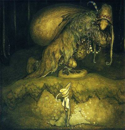 John Bauer, Good evening, old man ! the boy greeted (1915), illustration in Bland Tomtar och Troll