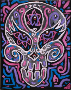 Neon Sugar Skull 2 9x12 acrylic on canvas