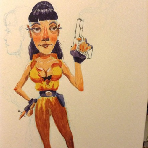 #sketch #woman #gun #smoker #cigarette #character #sketchbook #watercolor #artistsoninstagram #artistsontumblr