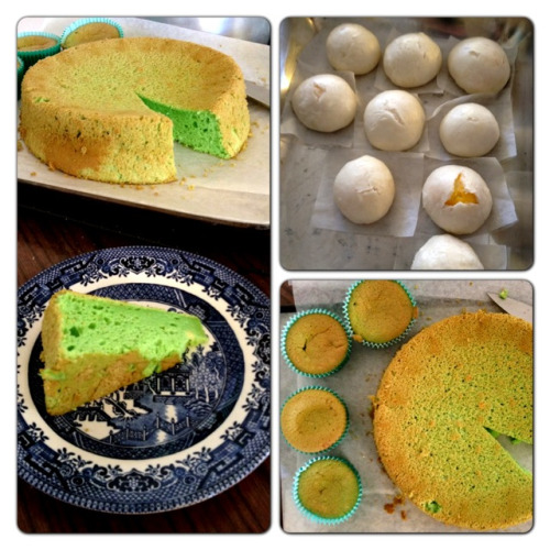 Mission to make Pandan cake and steamed custard buns by three Asian-cooking-noobs a success!
