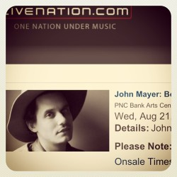@caitlinnmacc SO EXCITED 😍🎉 #johnmayer #bornandraised #concert #pncbankartscenter #summer #music #love #keepmewherethelightis #country #sexy #excited