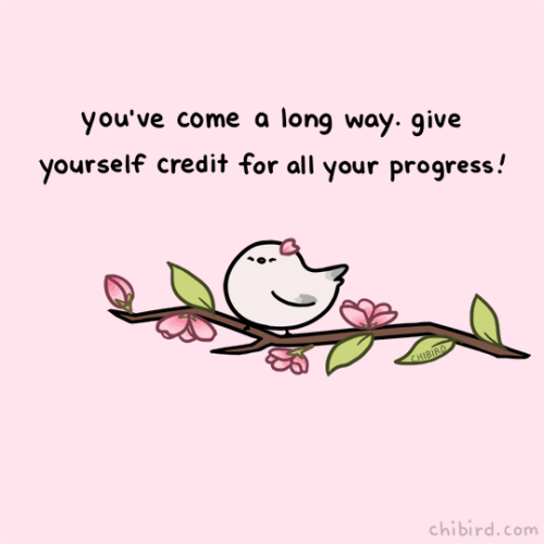 cute cherry blossom bird hamster motivational