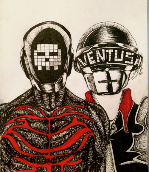 thatsassyventus:  Daft Punk BirthBySleep- Vanitas/Ventus ((made with Artist's Loft ink Illustration pens))