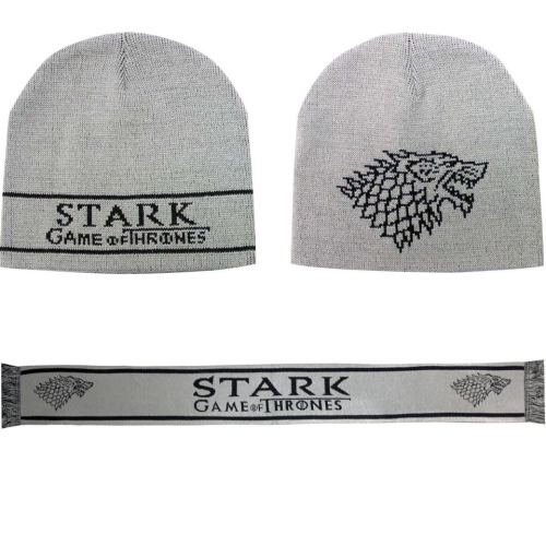 The HBO/GoT store has new beanie hats and scarves for Houses Stark, Targaryen, Baratheon and Lannister. They can be bought individually or as a set.They're 25% off, today only.