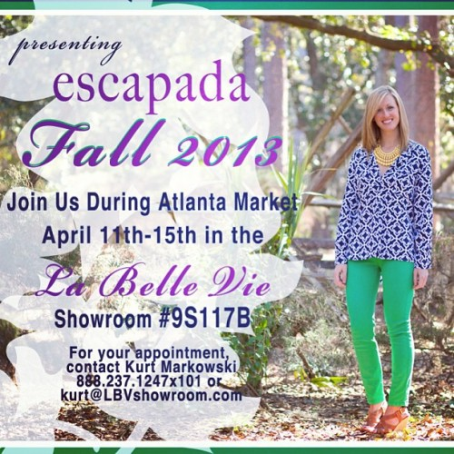 Escapada is ready for #AtlantaApparelMart next week, launching #Fall2013 and our all new #Gameday Collection. Make your appointment today! #escapadaliving #resortwear #atl #endlesssummer