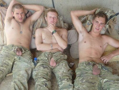 thy-kingdom-cum:  solidmilitarystuds:  time to play  A      B      or      C     ???  Men…cocks…and everything nice!