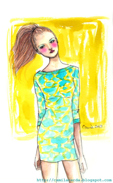 *Paraíso de menta* Asos dress Watercolor, ink pen Illustration by Camila Cerda