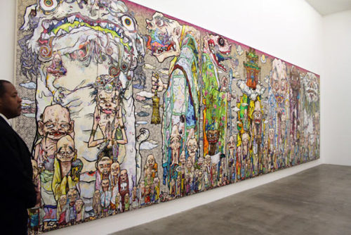 "juxtapozmag:  This past weekend we stopped by Blum & Poe for the opening of Takashi Murakami's latest solo exhibition ""Arhat"", and what we saw was a fantastic series of new paintings and sculptures that remind us of the playful nature of the Japanese artist's work. Definitely a must see if you are in the Los Angeles area. More images: http://bit.ly/11ajJ06"