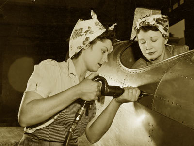 WWII Floral And Hickory Striped Women Workers