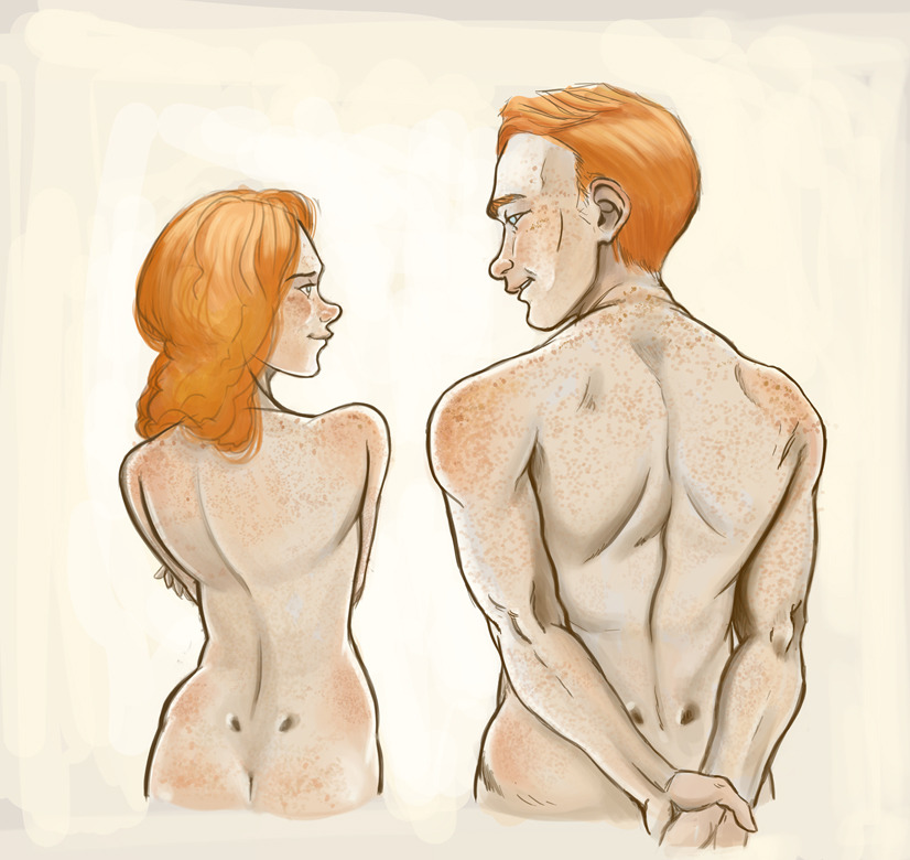 artemisio87:  Backs (◡‿◡✿) Butt Dimples (◕‿◕✿) FRECKLES (♥‿♥✿) LUTECES TWINS BEING NAKED FOR NO REASON (ノ◕ヮ◕)ノ*:・゚✧ anatomy is superwonky but i'll pretend i don't care