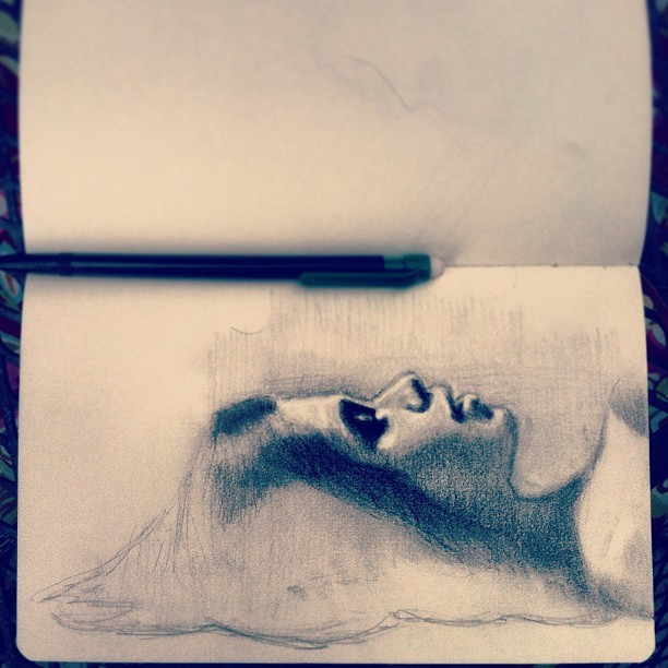 Little drawing in my moleskin #art #awonderfulmistake #drawing #portrait #girl #sketch #moleskin #fineart #pencil