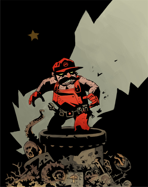 copiouslygeeky:  Mario (Hellboy Style) Created by Scott Watanabe
